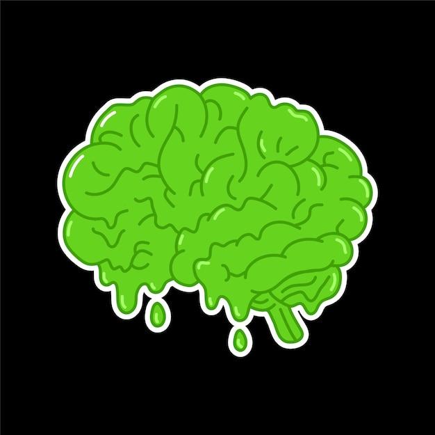 Órgão do cérebro humano derretendo verde ácido engraçado