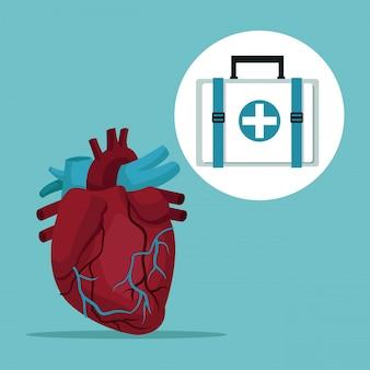 Órgão do coração com ícones frame of silhouette caixa de primeiros socorros
