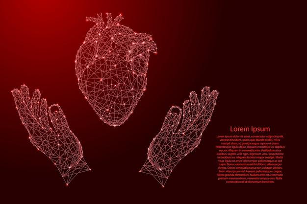 Órgão humano do coração e dois segurando, protegendo as mãos de linhas vermelhas poligonais futuristas e estrelas brilhantes para banner, cartaz, cartão de felicitações.