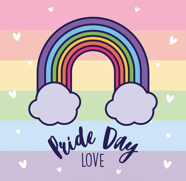 Orgulho dia amor e lgtbi arco-íris com nuvens
