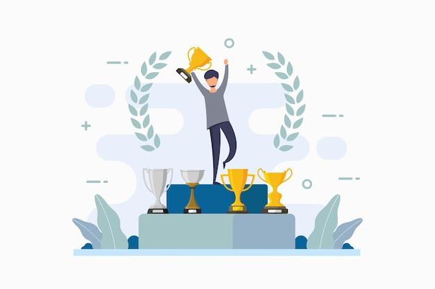 Orgulho do vencedor do campeonato com ilustração de vitória e obtenção de troféu
