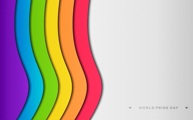 Orgulho lgbt colorido com copyspace em estilo de artesanato de papel