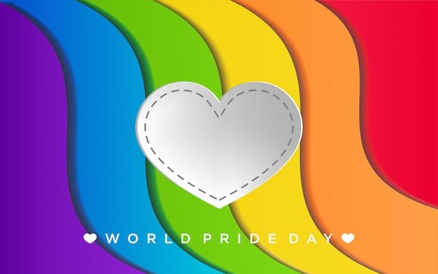 Orgulho lgbt colorido com coração em estilo de artesanato de papel
