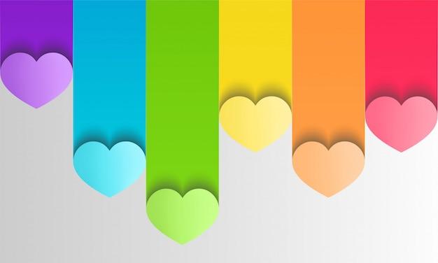 Orgulho lgbt colorido com corações em estilo de artesanato de papel
