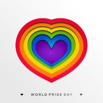Orgulho lgbt com coração colorido em estilo de artesanato de papel