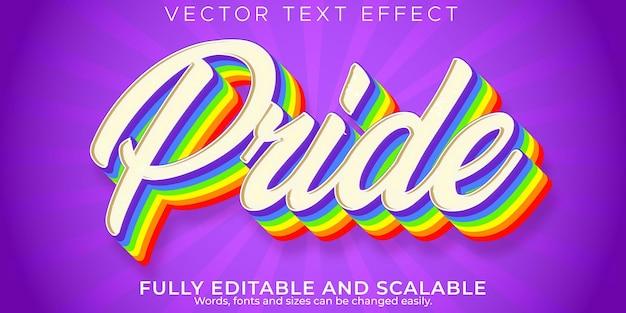 Orgulho retro, efeito de texto vintage, estilo de texto editável dos anos 70 e 80