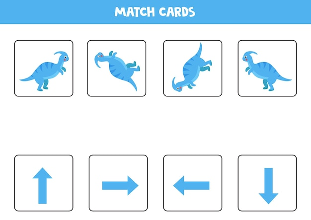 Orientação espacial com dinossauro bonito. esquerda, direita, para cima ou para baixo. jogo educativo.