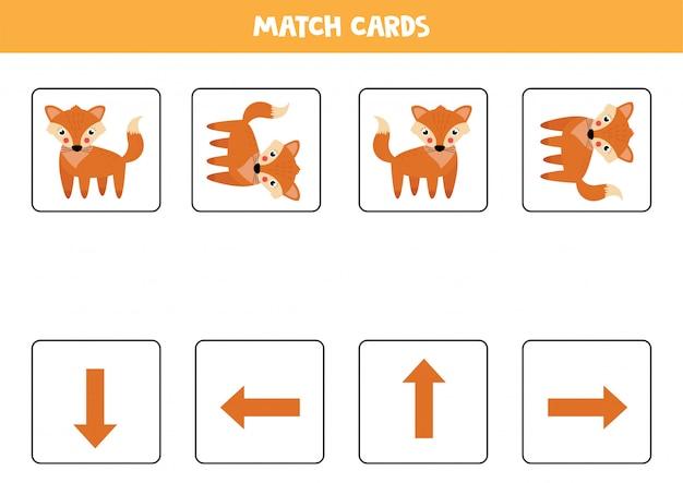 Orientação espacial para crianças. raposa bonito dos desenhos animados em orientação diferente.