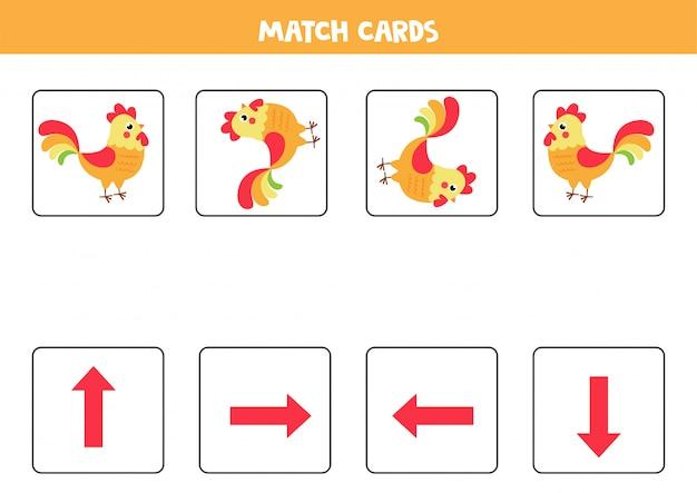 Orientação para crianças. combine cartas com flechas e galo bonito.