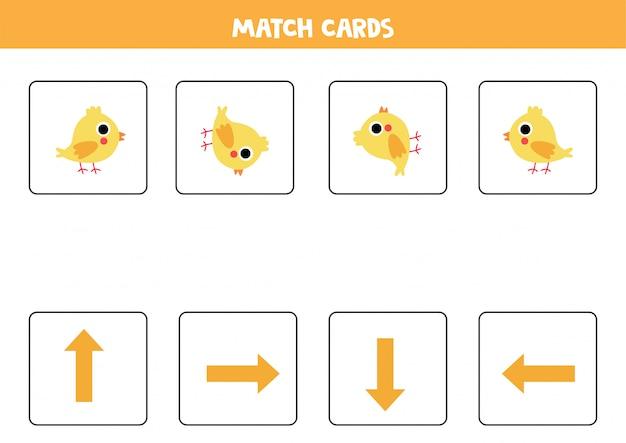 Orientação para crianças. combine cartões com flechas e frango bonito dos desenhos animados.
