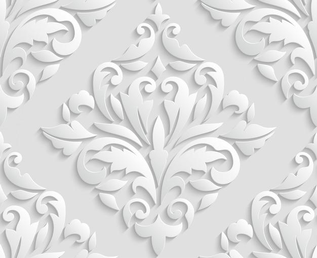 Oriental 3d damasco padrão sem emenda
