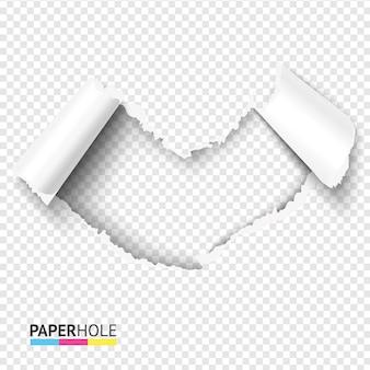 Orifício em formato de coração em branco com peças dobradas em fundo transparente