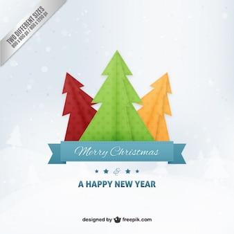 Origami árvores de natal fundo