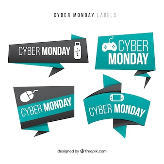 Origami banners cyber segunda-feira