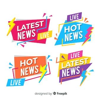 Origami colorido mais recente pacote de banner de notícias