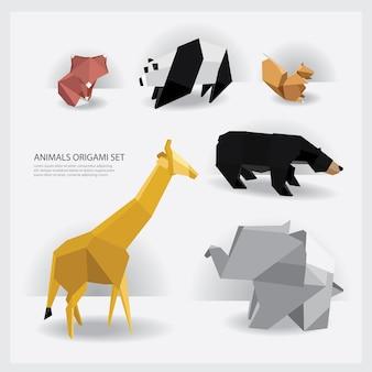 Origami de animais conjunto ilustração vetorial
