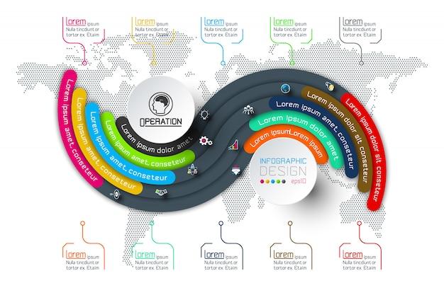 Origami de círculo de infográficos de negócios