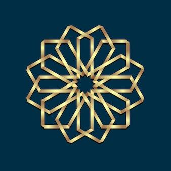 Origami de ouro 3d islâmico rodada ornamento