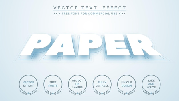 Origami de papel editar estilo de fonte editável de efeito de texto