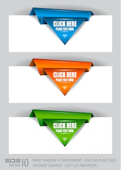 Origami de papel seta etiquetas de papel