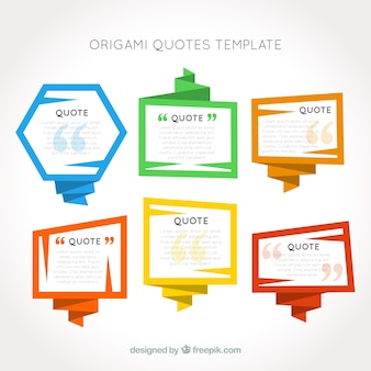 Origami emoldura modelo de citações