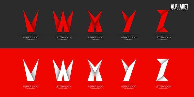 Origami estilo crocante alfabetos logotipos