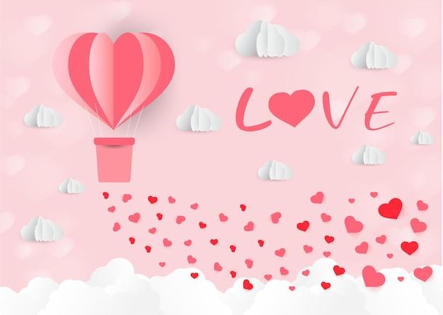 Origami feito balão de ar quente em forma de coração, papel, estilo, dia dos namorados, dia dos namorados