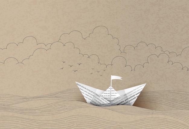 Origami feito barco à vela de papel. desenho à mão e corte de papel.
