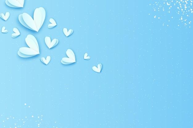 Origami feliz dia dos namorados. flying love white hearts em estilo de corte de papel