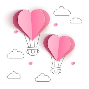 Origami fez balão de ar quente e nuvem