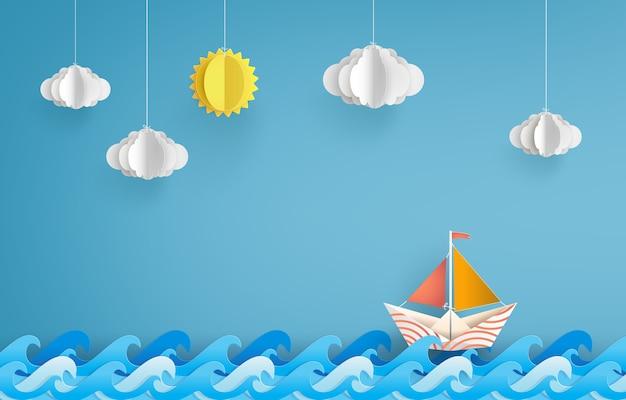 Origami fez barco de vela de papel colorido.