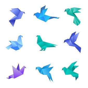Origami mergulhou. pássaros de pombo de papel estilizado polígono geométricos abstratos animais vetor coleção origami. ilustração em origami animal, pássaro pombo, papel de pombo geométrico
