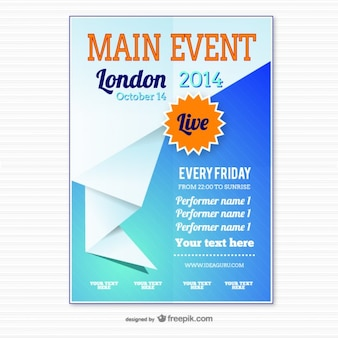 Origami modelo de cartaz evento