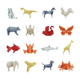 Origami paper animals arte vetorial criativa asiática