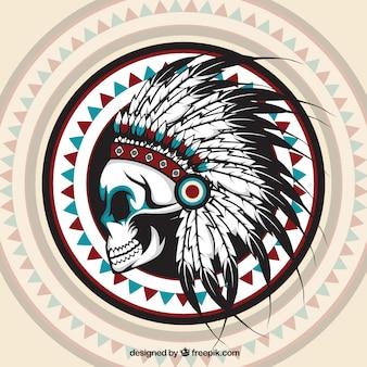 Origem étnica com desenhado à mão crânio indiano