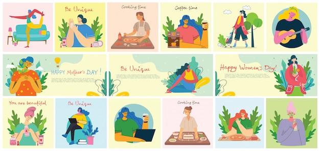Origens de atividades de mulheres. mulheres fazendo yoga, cozinhar, ler e trabalhar o conceito no estilo liso