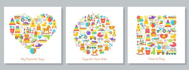 Origens de brinquedos de bebê estilizadas em formas de coração, círculo e quadrado. ilustração bonito dos desenhos animados. design plano.