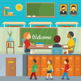 Origens de estudo de escola em sala de aula