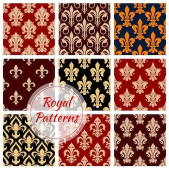 Origens do padrão decorativo floral real. ornamentos imperiais luxuosos e papéis de parede clássicos de decoração vintage