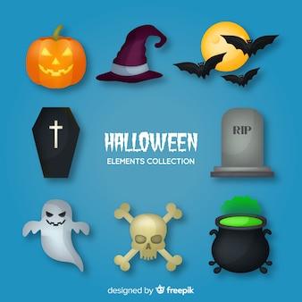 Original coleção de elementos de halloween com design plano