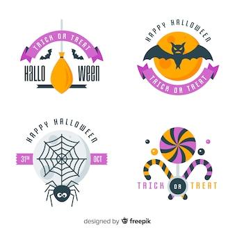 Original coleção de etiquetas do dia das bruxas com design plano