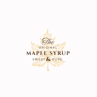 Original maple syrup abstract sign, symbol ou logo template.