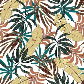 Original sem costura padrão tropical com folhas e plantas-de-rosa e amarelas brilhantes