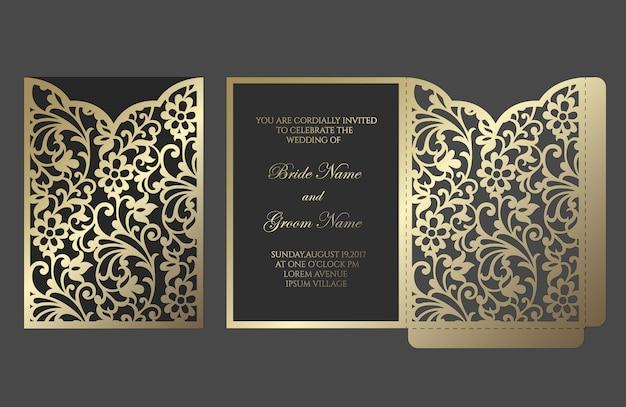 Ornamentado laser corte casamento convite bolso dobra envelope design. modelo de plotadora de corte.