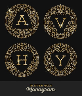 Ornamentais de ouro purpurina floresce quadros com monograma - ilustração.