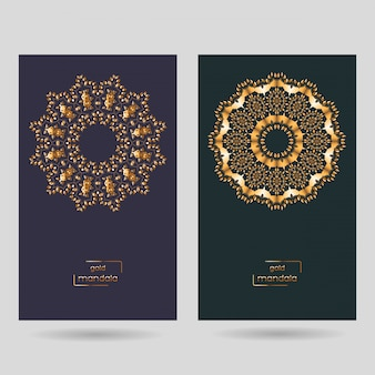 Ornamentais duas cartas com mandala.