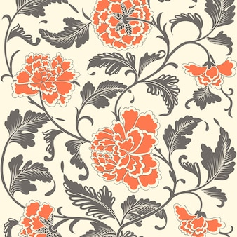 Ornamental colorido antigo padrão floral.