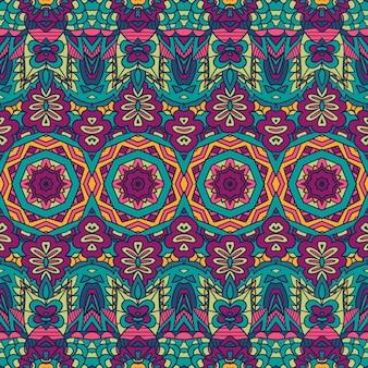 Ornamental de flor de mandala sem costura colorida geométrica abstrata