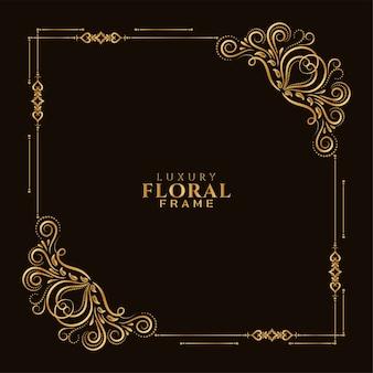 Ornamental elegante com moldura floral dourada