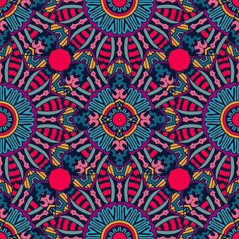 Ornamental padrão festivo colorido tribal étnico vetor sem emenda. estampa geométrica